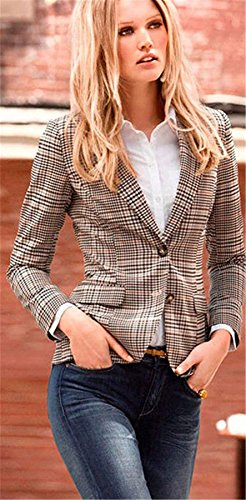 My Wonderful World Blazer Coat Jacket Mww Women Long Sleeves OL Business Plaid Formal Blazer US 6 by My Wonderful World Blazer Coat Jacket (Image #4)