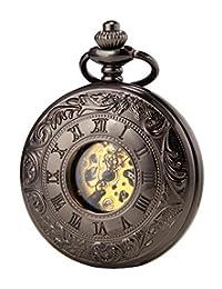SEWOR Vintage Hollow Roman Flower Alloy Black Men Women Pocket Watch Double Open