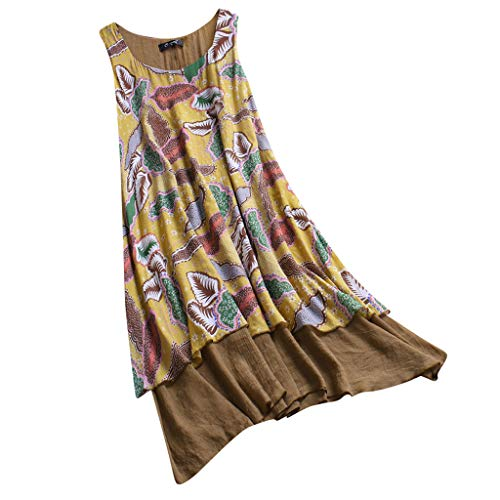 Tantisy ♣↭♣ V-Neck Basic Dress,Women Summer Casual T Shirt Dresses A Line Swing Simple Multicolor Mini Dress Plus Size Yellow