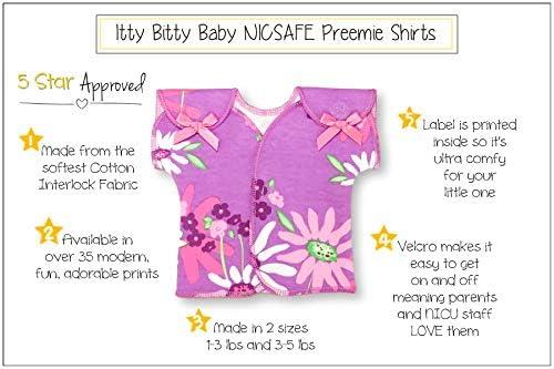 NICU Friendly 3-5lbs Itty Bitty Baby NICU Gown Scribble Hearts, Preterm 3