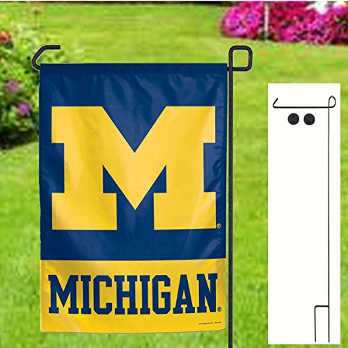 Lighthouse Banner (University of Michigan Wolverines NCAA Garden Flag Set - Includes Flag Pole + Rubber)