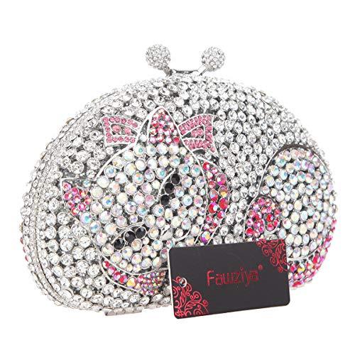For Bags Clutch Crystal Fawziya Purse Cat Luxury Clutch Rhinestone Women Cute Silver Evening Ixgxqv4Pw