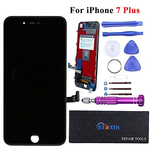 RSTH LCD Screen Display Touch Digitizer Frame Assembly Set for iPhone 7 Plus 5.5 inch with 3D Touch and Repair Kits(Black (Black)