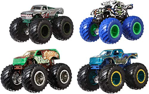 Hot Wheels Monster Trucks 1: 64, 4 Pack Vehicles (Styles May Vary) ()