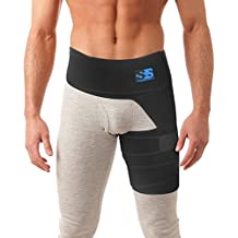 Best Thigh, Groin, and Hip Brace - Compression Wrap for Sciatica Pain, Pulled Muscles, Hip Flexor Recovery, Injury and Sprain Relief. Support Sleeve for Hernia, Hamstring, Quads and SI Belt