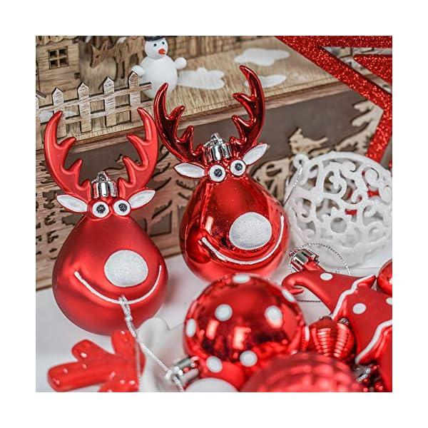 Victor's Workshop Addobbi Natalizi 92 Pezzi di Palline di Natale, 3-15 cm Tradizionali Ornamenti di Palle di Natale Infrangibili Rossi e Bianchi per la Decorazione Dell'Albero di Natale 6 spesavip