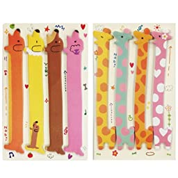 Wrapables Bookmark Flag Index Tab Sticky Notes, Hot Dog and Giraffe, Set of 2