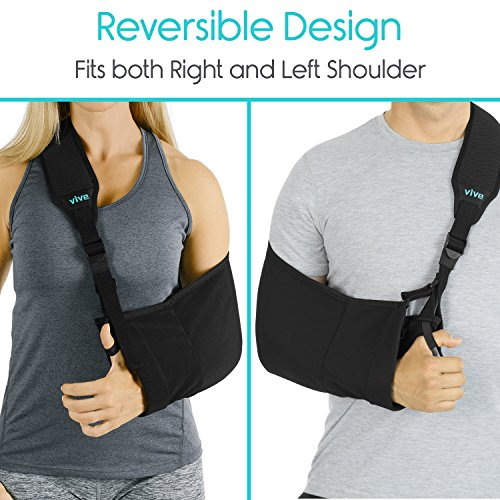 Review Arm Sling by Vive – Medical Sling for Broken & Fractured Bones – Adjustable Arm, Shoulder & Rotator Cuff Support – For Subluxation, Dislocation, Sprains, Strains and Tears