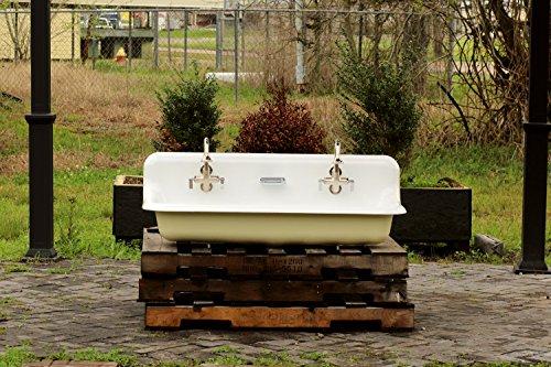 """Refinished 48"""" Vintage Trough Sink 1970 Double Faucet Cast Iron Porcelain Wall (Vintage Porcelain Sink)"""