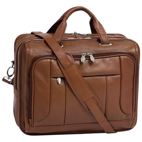 """McKlein, S Series, River WEST, Pebble Grain Calfskin Leather, 15"""" Leather Fly-Through Checkpoint-Friendly Laptop Briefcase, Brown (15714)"""