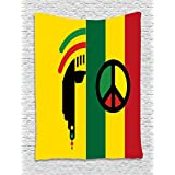 Rasta Tapestry by Ambesonne, Iconic Barret Reggae Jamaican Music Culture with Peace Symbol and Borders, Wall Hanging for Bedroom Living Room Dorm, 40 W X 60 L Inches, Red Marigold and Green