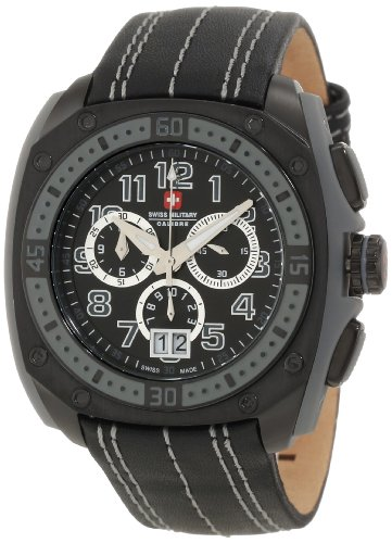 Swiss Military Calibre Men's 06-4F1-13-007 Flames Chronograph Black PVD Leather Date Watch ()