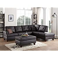 3Pcs Modern Brown L Shaped Reversible Sectional Sofa Chaise Ottoman Set with Top Grain Leather