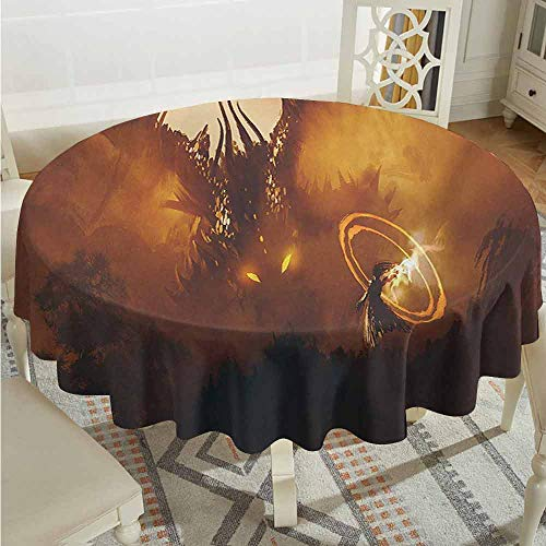 XXANS Washable Round Tablecloth,Fantasy,Calling of The Dragon Magician for Evil Powers of The Universe Artwork Print,Party Decorations Table Cover Cloth,50 INCH,Orange Brown