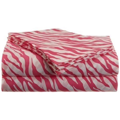 Divatex Home Fashions Jungle Love Zebra Stripe Sheet Set, White/Pink, King