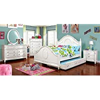 Floral Girls Dresser & Mirror Set - White Wood