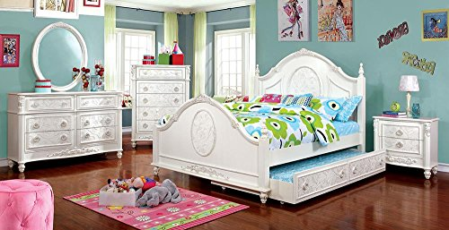 Northington Floral Girls 5 Piece Twin Bed, 1 Nightstand, Dresser, Mirror, Trundle - White Wood by FA Furnishing