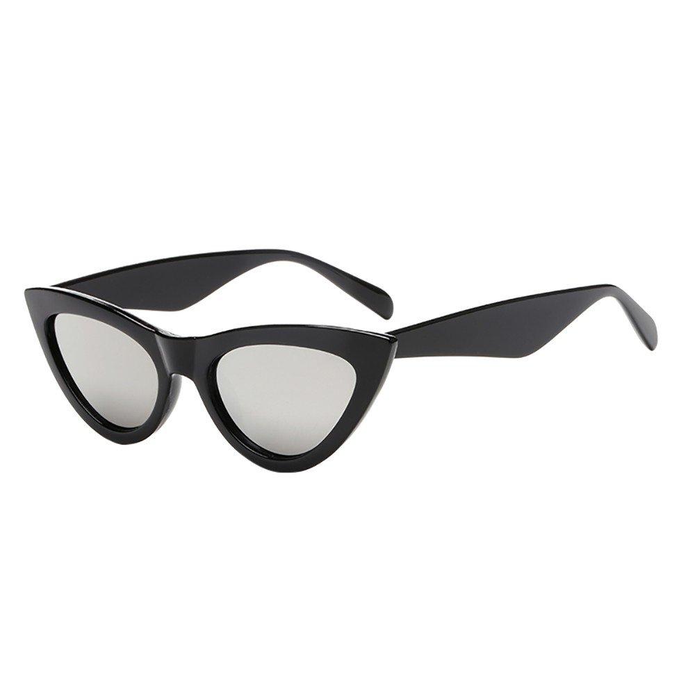 Cateye Sonnenbrille Katzenaugen Vintage transparente Gläser Retro Verspiegelt