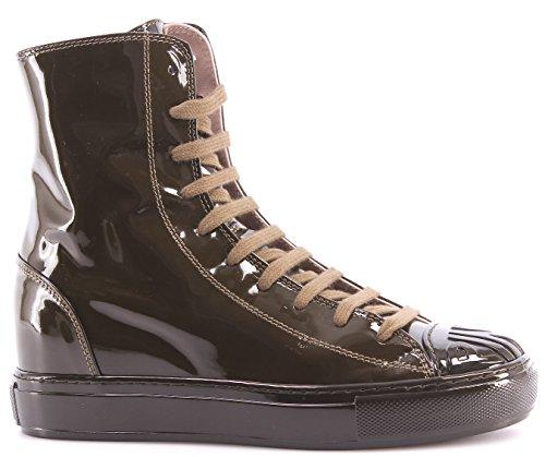 Scarpe Donna Sneakers Alte PINKO Shine Baby Shine Biancospino Vernice Verde New