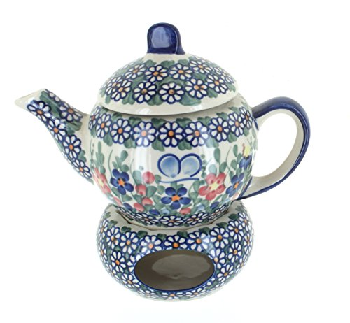 - Blue Rose Polish Pottery Garden Butterfly Individual Teapot with Warmer