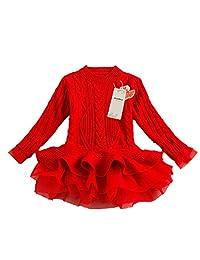 Baby Little Girls Pullover Knit Winter Sweater Dress Top