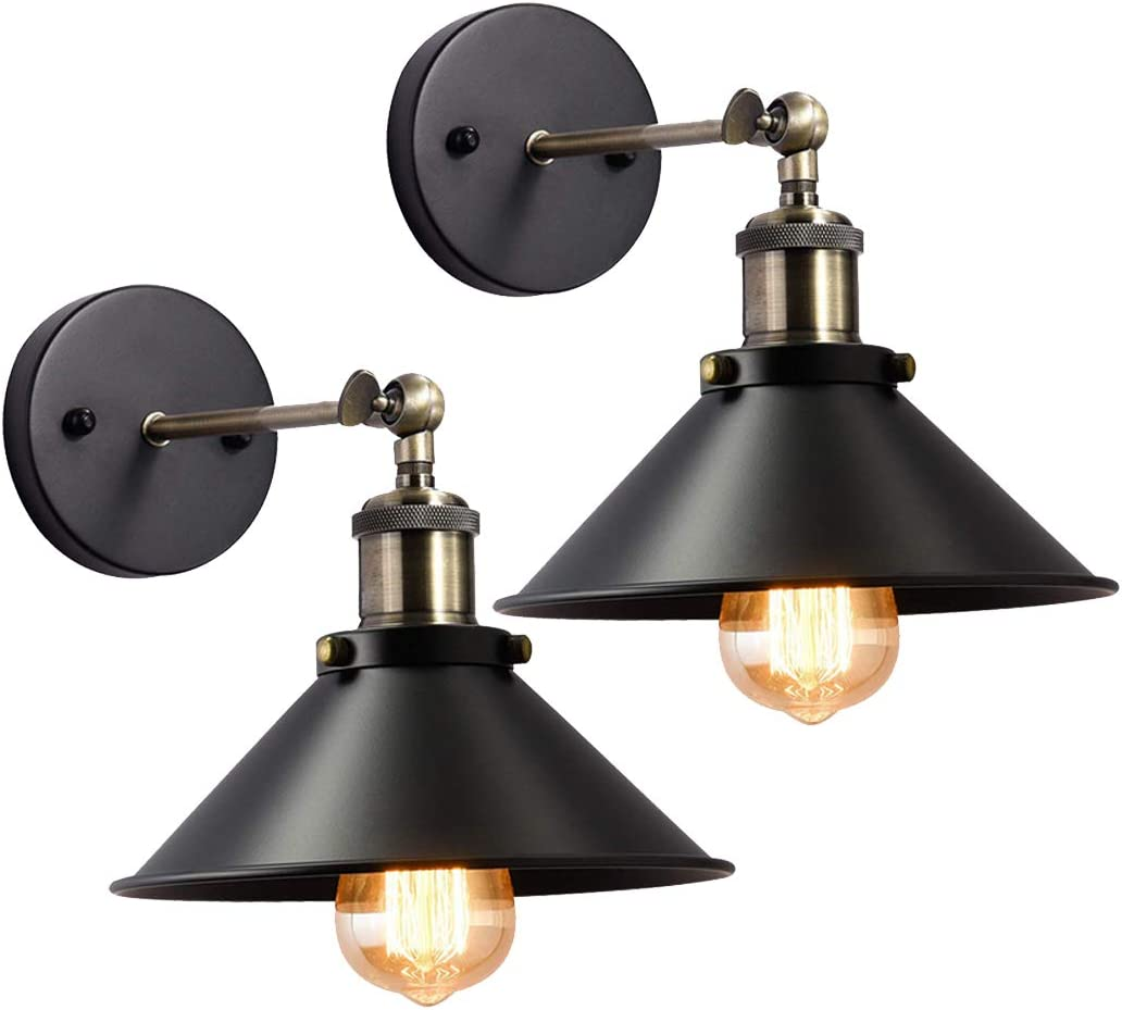 Lysed Wall Sconces Black Hardwire Industrial Vintage Wall Lamp Fixture Simplicity Bronze Finish Arm Swing Wall Lights Perfect for Bedroom, Living Room, Stairs, Corridor, Cafe Wall Sconces Set of Two