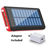 Solar Charger 24000mAh Portable Charger Power Bank Huge Capacity Battery Pack With AC Power Adapter For iPhone, iPad, Samsung Galaxy, Android and other Smart Devices
