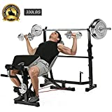 Adjustable Olympic Weight Bench with Leg Developer for Weight Lifting and Strength Training and Squat Rack Stand for Proffesional Fitness Home Use Indoor Exercise (Black)