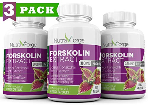 Strength Weight Loss - Pure Forskolin 3000mg Max Strength - Forskolin Extract for Weight Loss - Premium Appetite Suppressant, Metabolism Booster, Carb Blocker & Fat Burner for Men and Women - 3 Pack