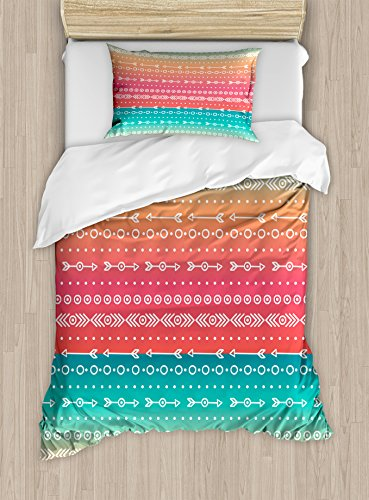 Arrow Decor Duvet Cover Set by Ambesonne, Colorful Ethnic Tribal Motifs with Geometric Shapes Triangles Old Aztec Maya Folkloric Art Home, 2 Piece Bedding Set with Pillow Sham, Twin / Twin XL, Multi