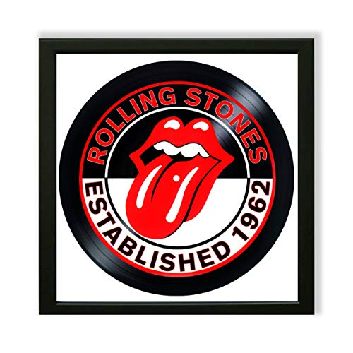 The Rolling Stones Framed Decor Vinyl Painted 14x14 - Wall Art Decor The Rolling Stones Rock Band - Unique Gifts for Fans The Rolling Stones - Best Gift for Rock Music Lovers - The Best Decoration