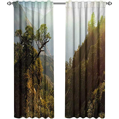 shenglv Landscape, Curtains and Valances, Forest Nepal Himalaya Mountains Sunlight Majestic Scenery Nature Photo, Curtains for Sliding Glass Door, W72 x L84 Inch, Green Pale Yellow