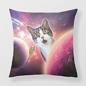 lightinglife cuadrada decorativa Funda de almohada cojín para sofá funda de almohada de espacio de LOL Espacio Gatos Cojín 20x 20
