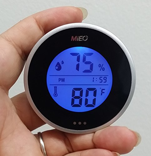 MIEO Round Digital Hygrometer Thermometer for Humidor HH654 with Clock