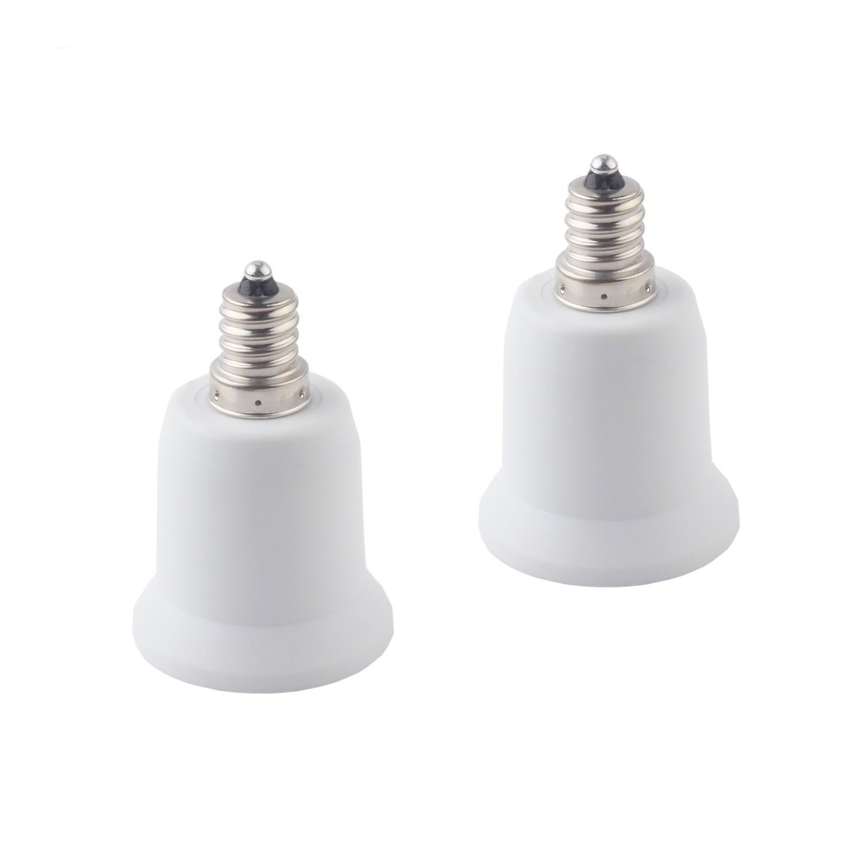 CRLight E12 to E26/E27 Adapter, Candelabra Screw (E12) to Medium Screw (E26/E27) Socket Enlarger Adapter Converter for LED Light Bulbs, Max Wattage 20W LED Bulbs, 2 Pack