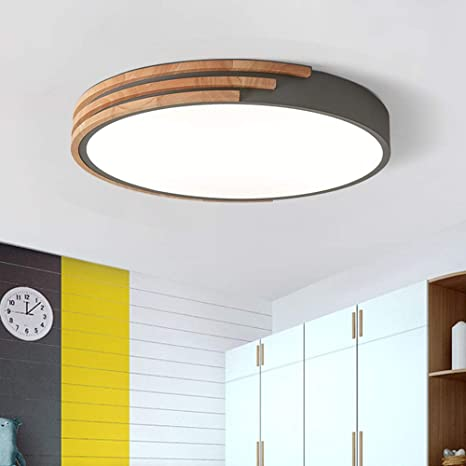 Litfad Round Led Flush Mount Ceiling Light Nordic Style Iron Dimmable Led Ceiling Lamp Modern Acrylic Stepless Dimming Pandent Light With Wooden Decoration In Grey Amazon Com