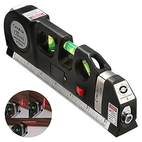 Qooltek Multipurpose Laser Level laser measure Line 8ft+ Measure Tape Ruler Adjusted Standard and Metric