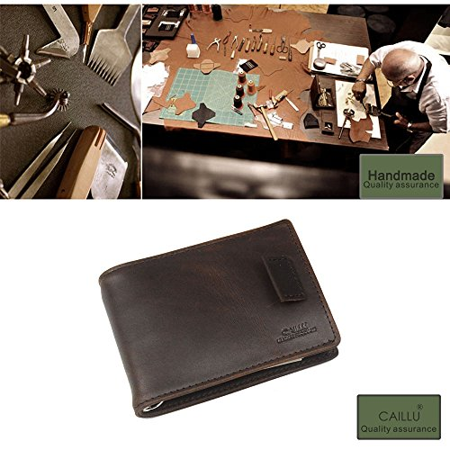 CAILLU Tiny leather wallet Vintage flat travel wallets organizer,slim credit card id card holder,luxury clip card purse