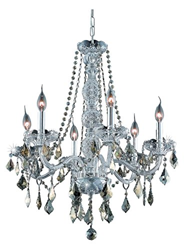 (Elegant Lighting 7856D24C-Gt/Ss Swarovski Elements Smoky Golden Teak Crystal Verona 6-Light, Single-Tier Crystal Chandelier, Finished in Chrome with Smoky Golden Teak Crystals)