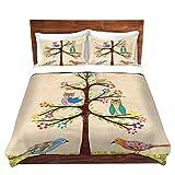 DiaNoche Designs Sascalia Owl Bird Tree I Unique Home Decor Bedding Ideas Cover, 8 King Duvet Sham Set