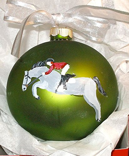 Hunter Jumper Warmblood Horse Hand Painted Christmas Ornament - Can Be Personalized with Name]()