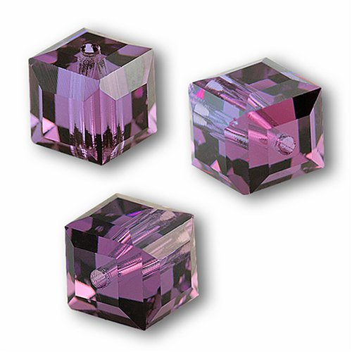 Bead 4 Cube Crystal Swarovski - 10 Cube 4mm Swarovski AMETHYST 5601 Crystal Beads.