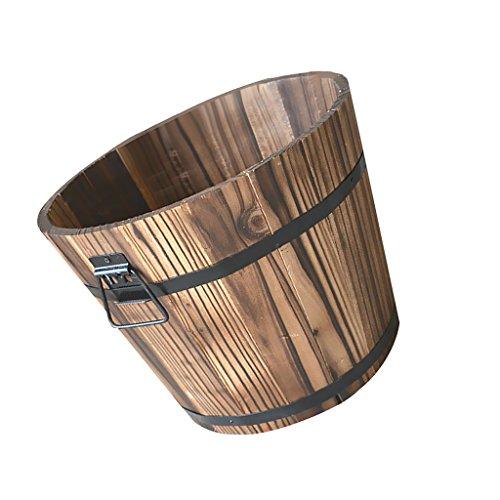MonkeyJack Wooden Barrel Pot Planter Outdoor Garden Plant Flower Bucket Rustic Decor 2 Sizes 3 Kinds - #1 Round, S