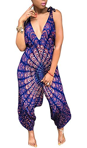 Silk Halter Jumpsuit - Kafiloe Womens Boho African Print Spaghetti Strap Loose Fit Harem Jumpsuit Rompers Pants Long Summer Casual Purple XL