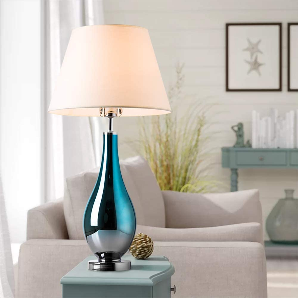 "Table Lamps Set of 2 Bule Ombre Glass 28"" Side Bedside Table & Desk Lamp for Bedroom Nightstand,Living Room, Office Set of 2 Modern and Contemporary"