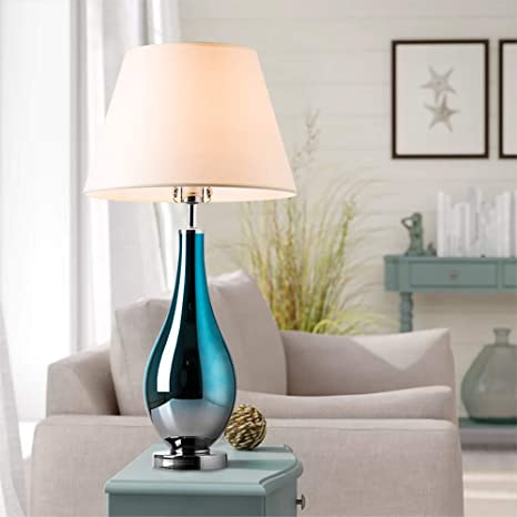 Table Lamps Set of 2 Bule Ombre Glass 28\