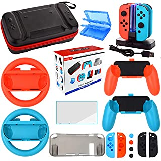 Accessories Kit for Nintendo Switch Games Bundle Wheel Grip Caps Carrying Case Screen Protector Controller Charger (17 In 1)