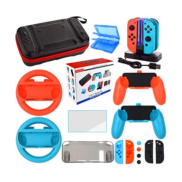 Accessories Kit for Nintendo Switch Games Bundle Wheel Grip Caps Carrying Case Screen Protector Controller 1