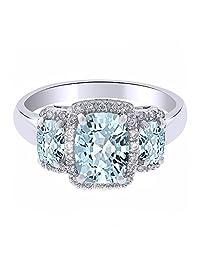 Cushion Cut Aquamarine & White Natural Diamond Three-Stone Band Ring in 14k Solid Gold