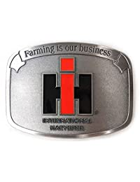 "IH ""Farming is Our Business"" Brushed Pewter Buckle"